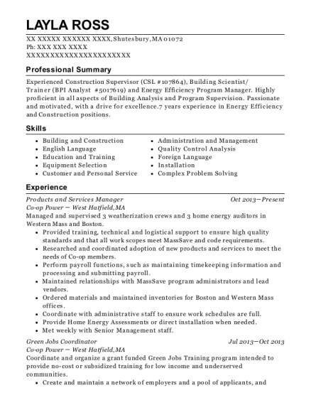 Co Op Power Products And Services Manager Resume Sample - Shutesbury ...