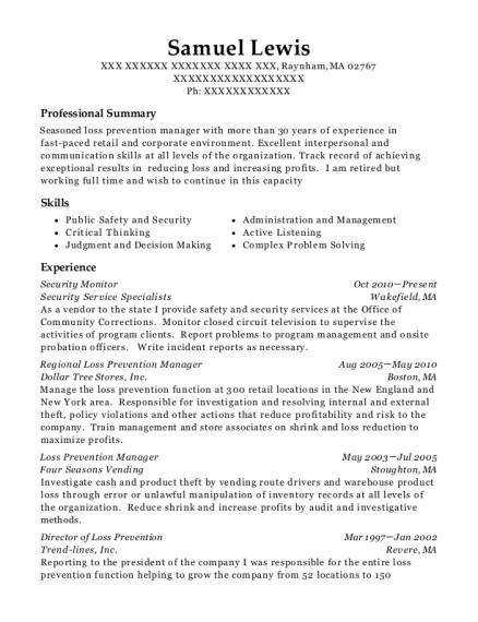 Samuel Lewis  Loss Prevention Resume