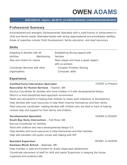 Awesome View Resume. Certified Early Intervention Specialist