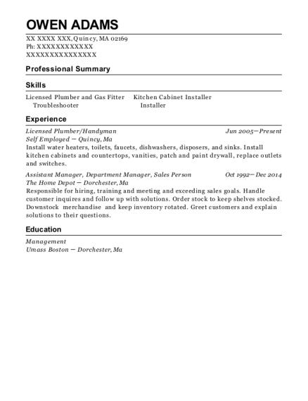 View Resume Licensed Plumber Handyman