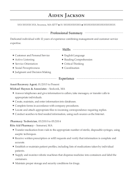 michael haynes associates asset recovery agent resume sample