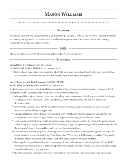 Best Treasury Manager Resumes | ResumeHelp