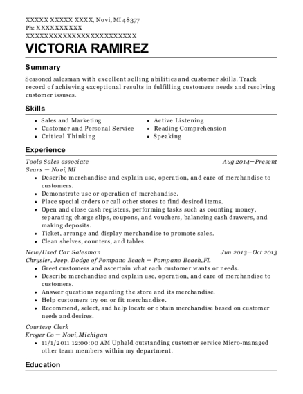 Victoria Ramirez  Courtesy Clerk Resume
