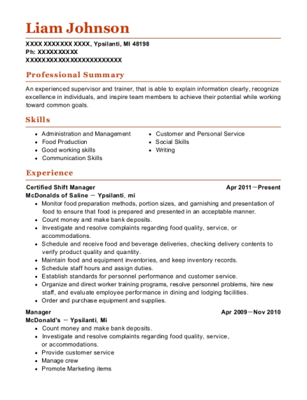 shift manager resume