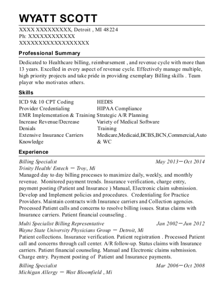 View Resume. Billing Specialist