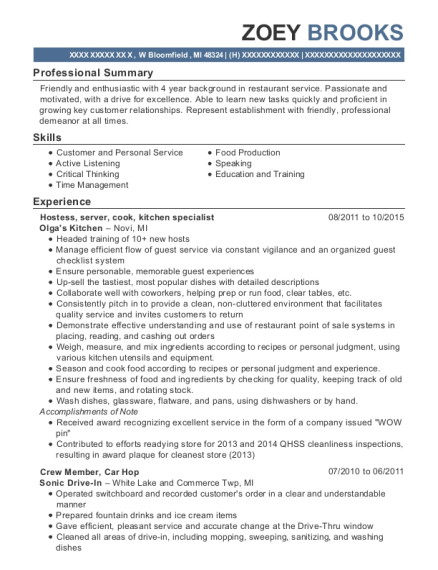 zoey brooks - Nursery Attendant Sample Resume