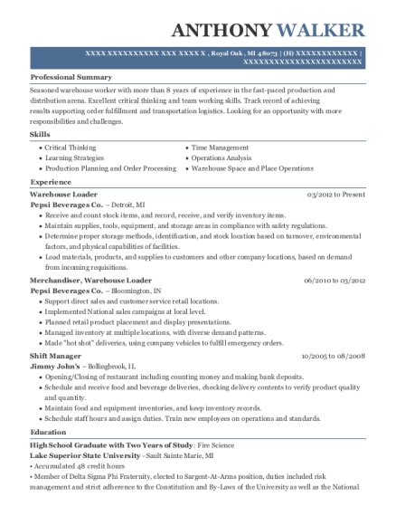 view resume warehouse loader