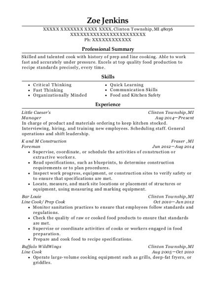 prep cook resumes