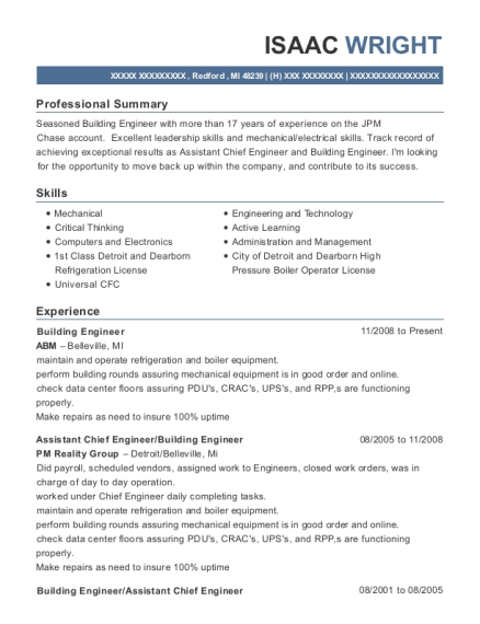 isaac wright - Building Engineer Resume