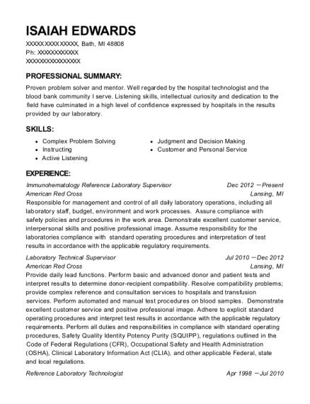 American Red Cross Immunohematology Reference Laboratory Supervisor ...