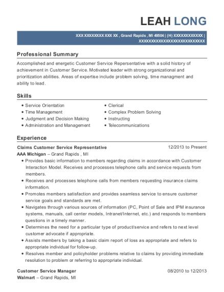 geico claims customer service representative resume sample