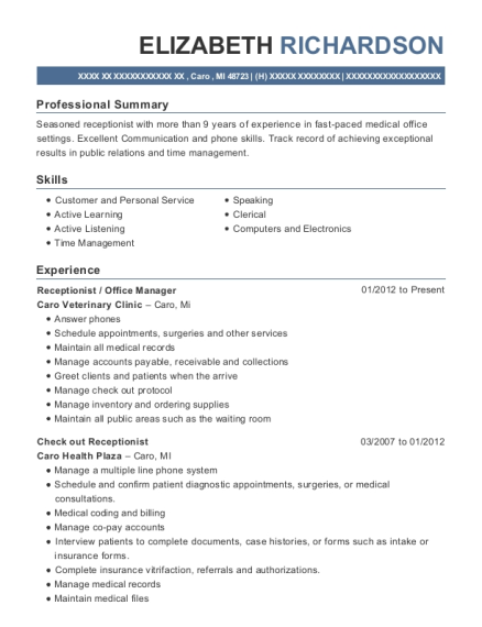 Receptionist / Manager , Receptionist. Customize Resume · View Resume