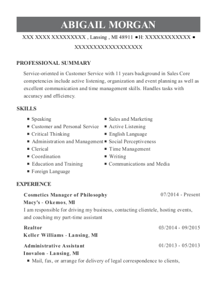 Macys Cosmetics Manager Of Philosophy Resume Sample - Lansing ...