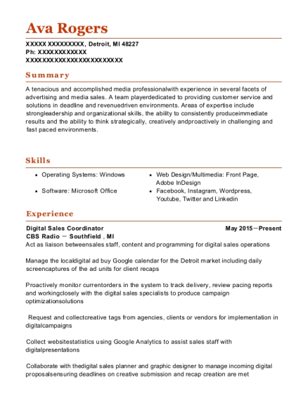 Media sales assistant sample resume