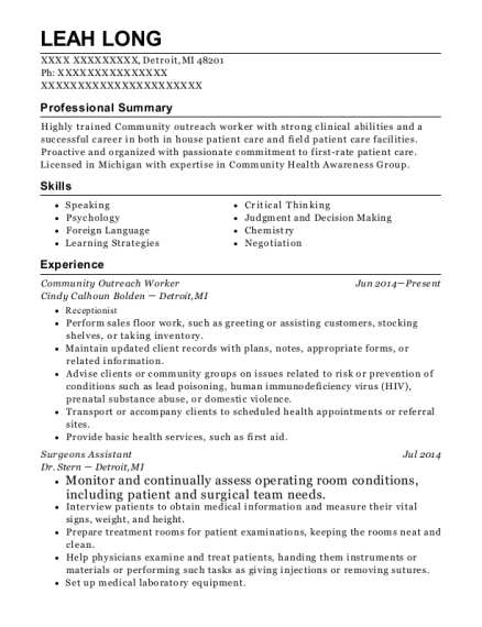 View Resume. Community Outreach Worker