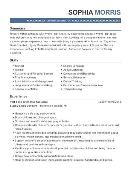 best part time childcare assistant resumes resumehelp