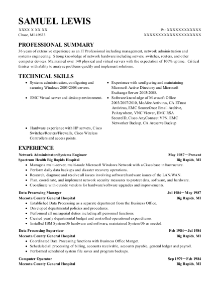 samuel lewis - Data Processing Manager Sample Resume