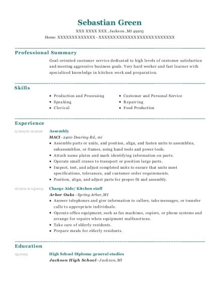 kitchen staff resume