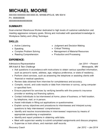 best admissions representative resumes resumehelp