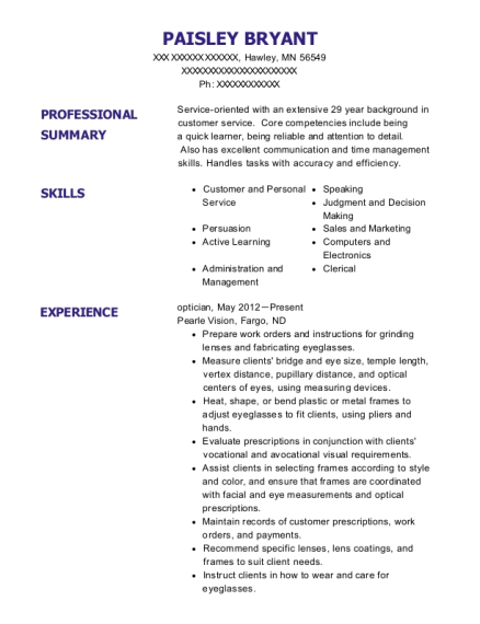 optician resume april onthemarch co