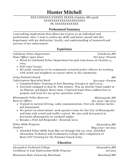 Department Of Homeless Services Peace Officer Resume