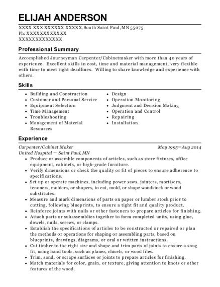 cabinet maker resume