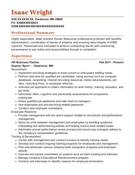 View Resume. HR Business Partner