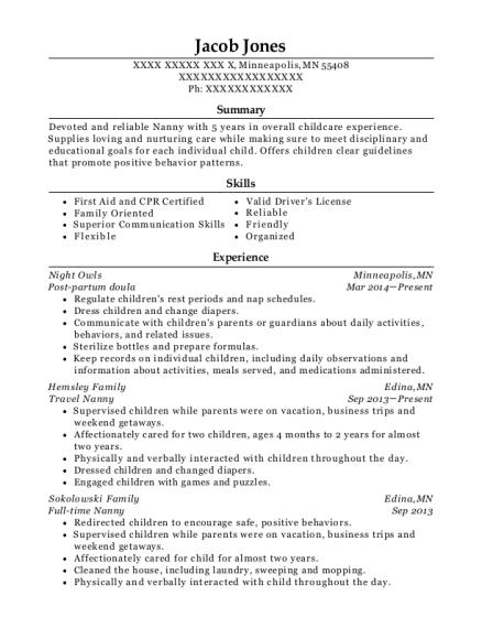 postpartum doula resume