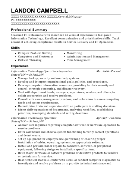 People Also Search For Customize Resume View Information Technology Operations Supervisor
