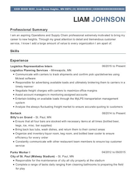 best logistics representative intern resumes