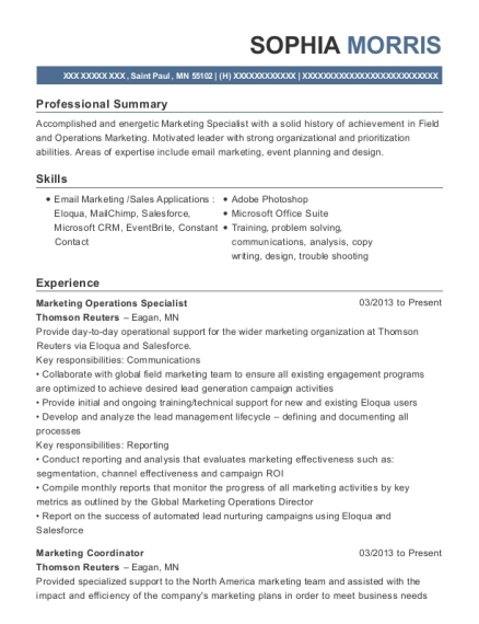 Best Marketing Operations Specialist Resumes Resumehelp
