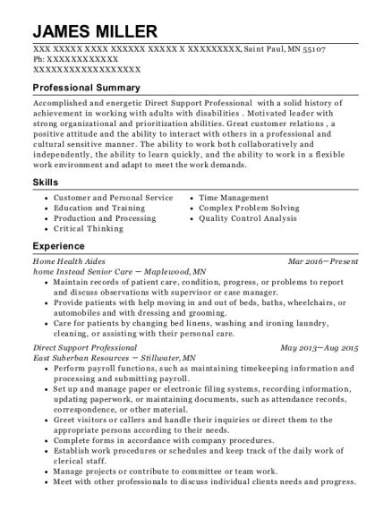 James Miller  Direct Support Professional Resume