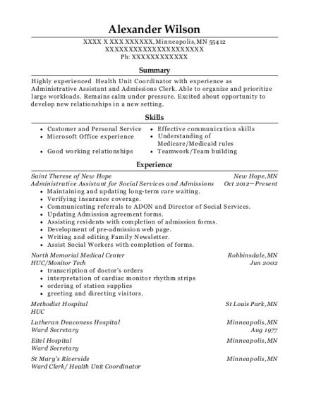 Best Ward Clerk/ Health Unit Coordinator Resumes   ResumeHelp