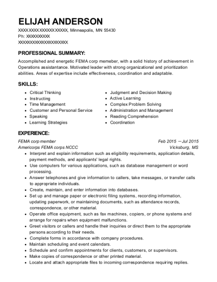 view resume fema corp member