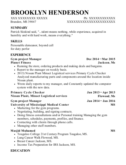 Planet Fitness Gym Project Manager Resume Sample - Brandon ...