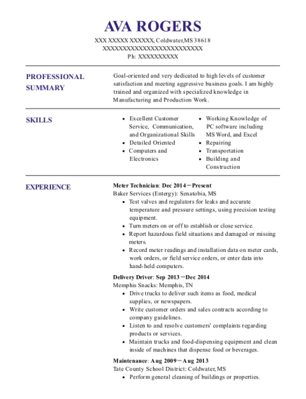 View Resume. Meter Technician