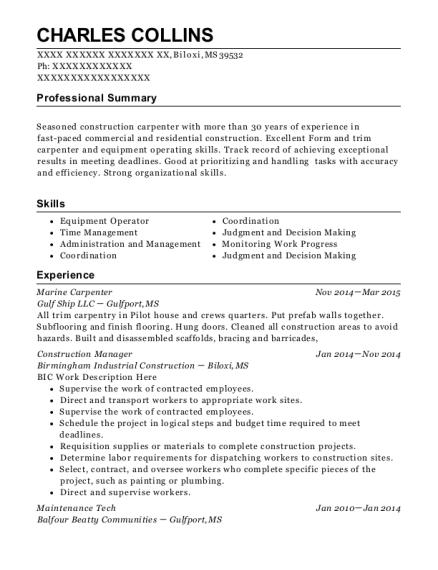 Best Marine Carpenter Resumes | ResumeHelp