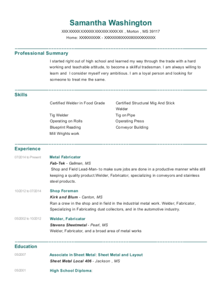 cardinal metalworks inc metal fabricator resume sample southport