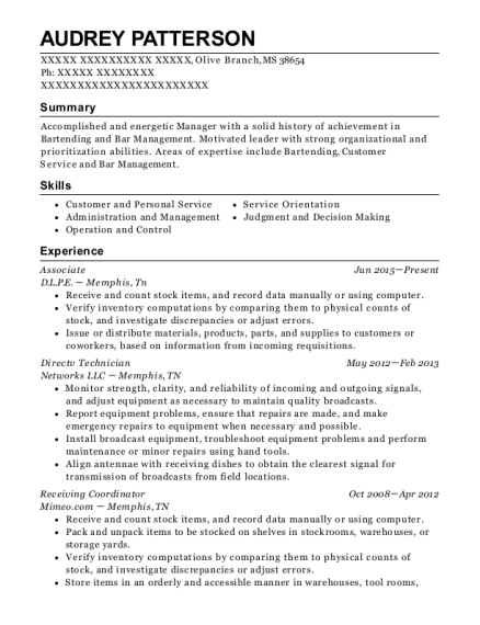 bar manager resume examples