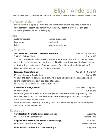 View Resume. Sub Food Nutritionist (Cafeteria Worker)  Cafeteria Worker Resume