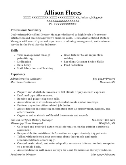 Best Clinical Certified Dietary Manager Resumes | ResumeHelp