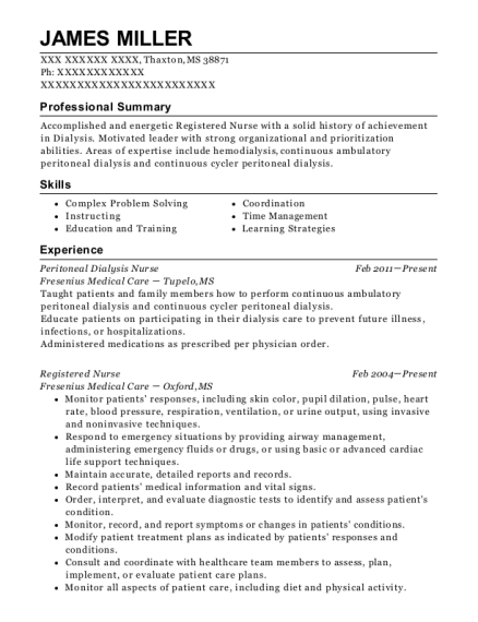 dialysis nurse resumes