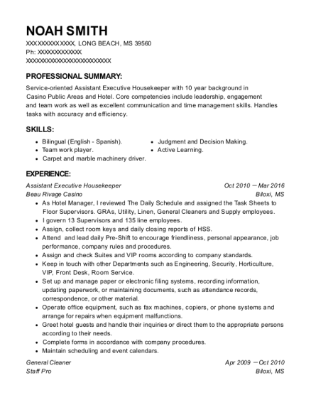 Noah Smith  Executive Housekeeper Resume