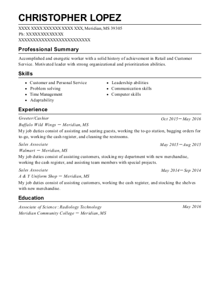 buffalo wild wings resume