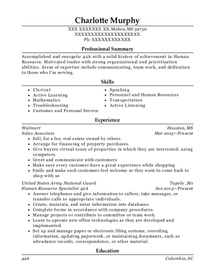 Best Human Resource Specialist 42a Resumes