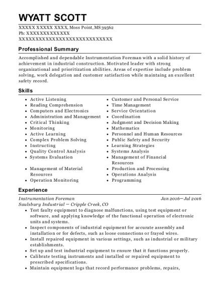 best instrumentation foreman resumes resumehelp