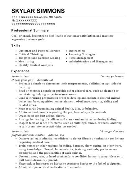 View Resume Horse Trainer