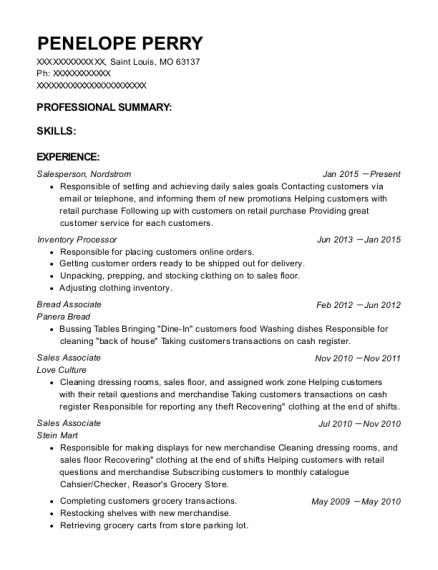 salesperson inventory processor resume sample