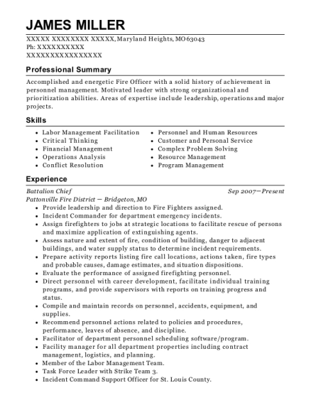 Carlsbad Fire Department Battalion Chief Resume Sample