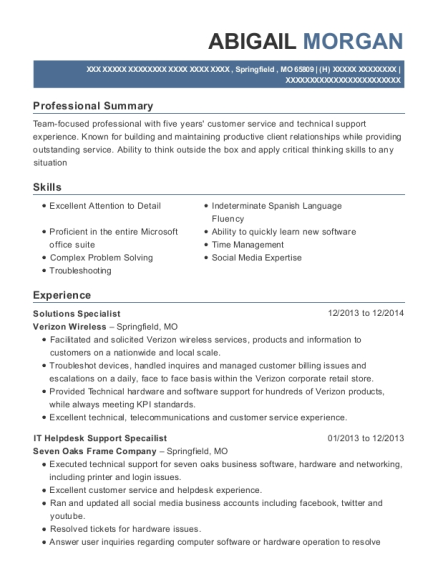 Verizon Wireless Solutions Specialist Resume Sample - Albuquerque ...